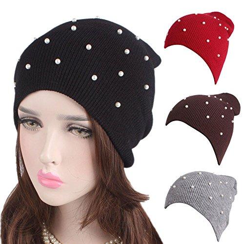Damen Mädchen Strickmütze Winter Warm Beanie Mützen mit Perlen, Weiß Schwarz Beige Rosa Grau Rot.