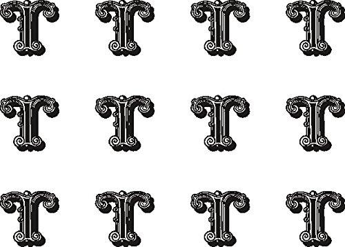 The Lazy Cow Vorgeschnittener essbarer Buchstabe T aus Reispapier, Cupcake-Dekoration, 38mm, schwarz und weiß, 12 ()