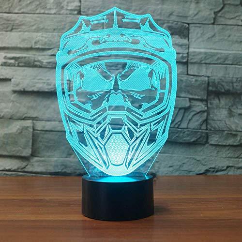 illusione creativo 3D Led Nightlight Illuminazione Usb 7 Visiera colorata Moto Casco Maschera Lampada da scrivania Decorazioni per la casa Sonno Lampade R