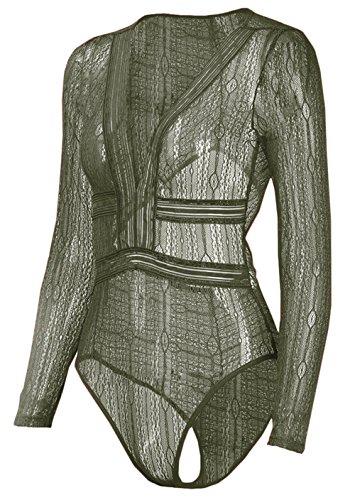 U-shot Body - Scollatura sulla schiena - Maniche lunghe - Donna Army Green