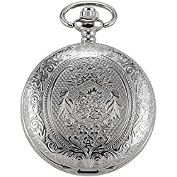 AMPM24 Silver Flower Leaf Dangle Pendant Pocket Chain Quartz Watch Gift for Men Women + AMPM24 Gift Box WPK093