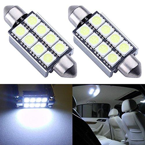 TABEN 2 pcs Blanc 5050 8-SMD 42 mm (4,2 cm) 12 V Festoon Dome lumière CANBUS sans Erreur Ampoules LED 211–2 212–2 569 578 LED Feux de Plaque d'immatriculation