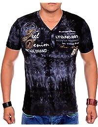 Herren T Shirt V-Neck | T-Shirt für Herren Slim Fit | Washed Shirts für Männer | kurzarm Herrenshirt im verwaschenen Batik Design | Basic Slim fit V-Ausschnitt T-Shirt | sportliche Sommer Shirts 1817