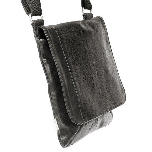 Jahn-Tasche - sac bandoulière / besace format portrait, modèle 428 avec poche pour Tablette, iPad - cuir véritable Noir