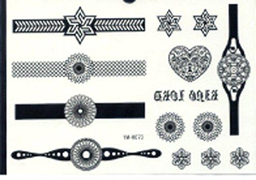 Mode et de qualité imperméable à l'eau et à la mode montre noir abstraction mère tatouages temporaires