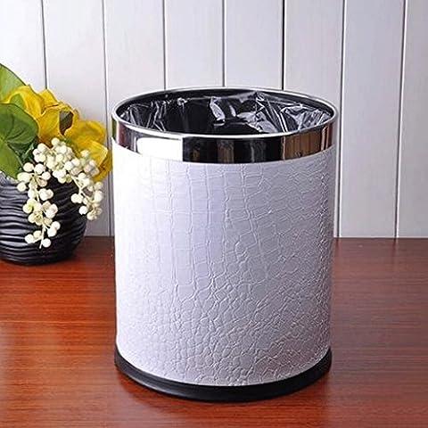 Soggiorno cucina cestino Trash cuoio dell'acciaio inossidabile Cestino 22 * 27 centimetri 10L bagno Trash ( edizione : C. )