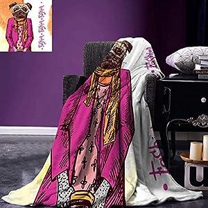 HBYMV Lancer Couverture Chien de Mode icône Cool vêtements Foulard Collier Veste Sac à Main teinté Fond Couverture de Flanelle pour lit 200 * 150 cm