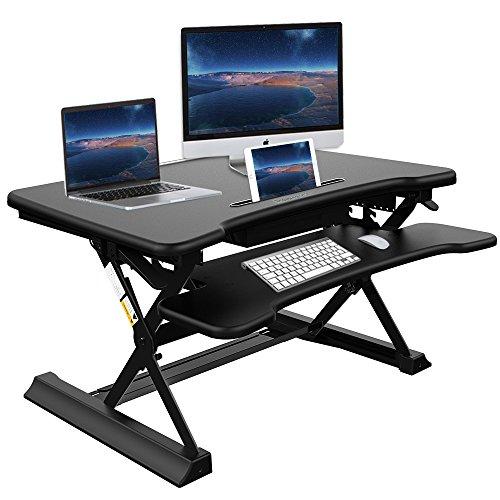 Höhenverstellbarer Schreibtisch, Ansteker 35'' Steh-Sitz Schreibtisch Workstations Höhenverstellbare Stehpult Ergonomischer Steharbeitsplatz Computertisch Flexible Standtisch (Schreibtisch Workstation,)