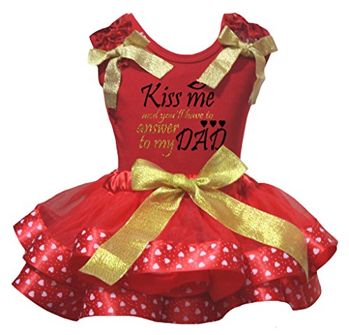 Petitebelle Kiss Me To My Dad Shirt Red Valentine Heart Petal Skirt Set Nb-8y