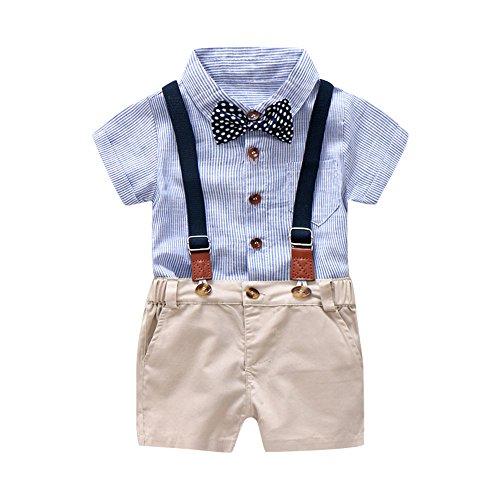 MRULIC Infant Baby Jungen Gentleman Strampler Hosenträger Strap Shorts Outfits Sets Sommer Kurzarm Shirt und Hose(A1-Blau,65-70CM) (Kleid, Schickes Junge Kleinkind,)