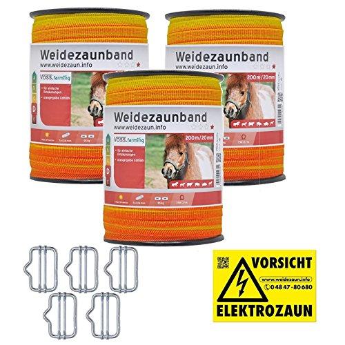 VOSS.farming 600m Weidezaunband Elektrozaunband Pferdezaun Ponyzaun 5x0,16 Niro 10mm Elektroband Gelb Oranges Weidezaun Elektrozaun Breitband