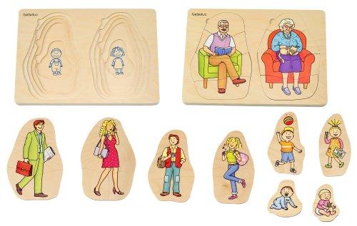Beleduc 17052 - Puzzle encajable de Madera, diseño La Familia