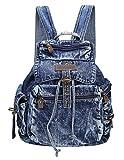 SAIERLONG BsBP Damen College-Art Tiefes Blau Denim Fashion Urlaubsreisen Rucksack Schul