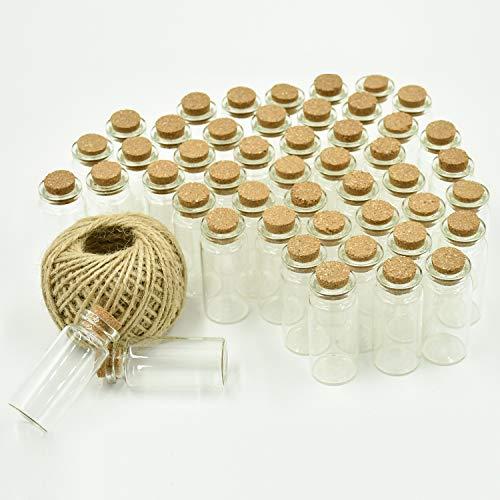 sfläschchen mit Korken, 10ml (5cm x 2cm) Klein Glasflaschen Fläschchen mit Korkenverschluss, und 30m Garn, Hochzeitseinladung, Schmuck DIY Projekte, Bastel ()