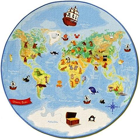 Böing Carpet W-Map - Alfombra redonda (100 cm), diseño del mapa del mundo
