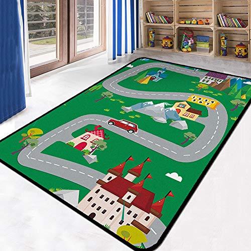 YXZN Straßen Playmat Baby Klettermatte City Road Kinder Pädagogisches Lernen Teppiche Kinder Spiel Teppiche für Wohnzimmer Schlafzimmer Kindergarten (Lernen Teppiche Für Kinder)