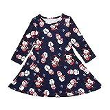 Xmiral Vestido para Niñas Bebes Manga Larga, Estampado de Muñeco de Nieve, Dress para Navidad, Elegante para Otoño(Azul,3-4 años)