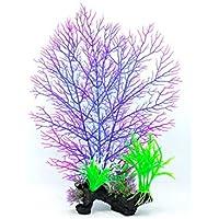LMKIJN Decoración del Tanque de Peces Plantas del Ornamento de la Hierba del Acuario para la decoración del Paisaje del Acuario para la decoración del hogar (Color : Purple, tamaño : Height:36cm)