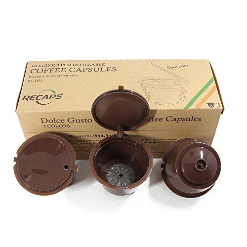 Recaps ricetta coffee capsule reusable più than 100 volte per nescafe dolce gusto brewers 3 pezzi| compatibile con mini me, genio, piccolo, esperta e circolo (marrone)