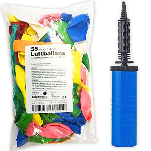 Preisvergleich Produktbild Ballonpumpe + 55 bunte Luftballons im Super-Spar-Set - Ballons einfach & schnell aufblasen & Puste sparen - Handpumpe 2-Wege Luftballonpumpe Pumpe Ballons Luftballons