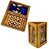 Little India viajeros de madera Mini ajedrez y soporte en forma de bolígrafo de madera, multicolor