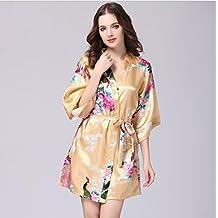 DMMW BAICHUANG Vestido de Pavo Real de Seda Fundas de Batas de baño de Pijamas señoras