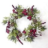 Festlicher Weihnachtskranz, künstliche Blumen Deko-Kranz, Weihnachts Dekoration Anhänger Girlanden, Weihnachtsdeko für Tür und Fenster, Feiertags hochzeits dekoration - Yves25Tate