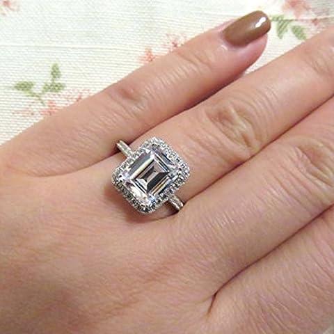 Forever Diamond - 14K White Gold 14 Karat Weißgold Emerlad Hochfeines Weiß +/River (D) Diamant