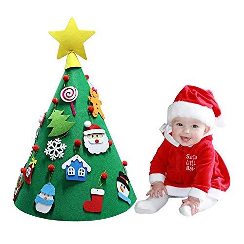 Feltro Albero di Natale, Cono 3D Grande Albero di Natale Fatto A Mano Fai da Te con 18 Pezzi Ornamenti Staccabili Decorazione della Parete per I Bambini Regali di Natale