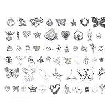 Kit abalorios para hacer pulseras, Mariposas mixtas/Mar/Corazón/Ángel encantos para collar pulsera suéter cadena y joyas de bricolaje (57pcs)