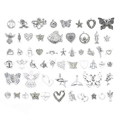 Charms anhänger Herz, gemischter Schmetterling/Meer/Herz/Engel Charms für Halskette Armband Pullover Kette und Schmuck DIY (57Pcs)