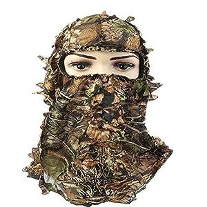 Artensky Camouflage Bonnets 3D Masque Tactique Ghillie Chasse Airsoft Pêche Halloween fête