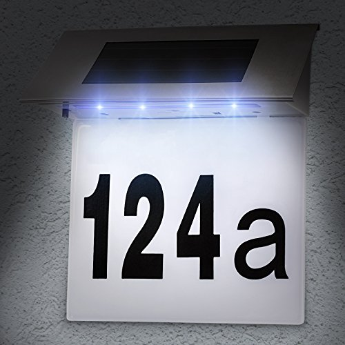 TecTake Solar Hausnummernleuchte Hausnummer LED Beleuchtung aus Edelstahl - 2