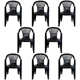 CrazyGadget Plastic Garden Low Back Chair Stackable Patio Outdoor Party Seat Chairs Picnic Grey Pack of 8