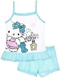 Pyjama débardeur enfant fille Hello kitty Rose et Bleu de 3 à 8ans