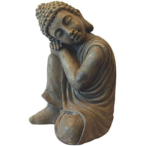 Multistore 2002 Deko Buddha kniend H43cm Dekofigur Gartenfigur Steinfigur Skulptur Statue Buddhafigur Gartendekoration Buddhismus (Statue Garten Kleines Mädchen)