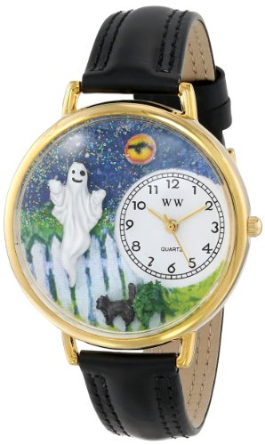 isex-Armbanduhr Halloween Ghost Black Skin Leather and Goldtone Watch #G1220032 Analog Leder Mehrfarbig G-1220032 ()
