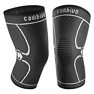 CAMBIVO 1 Pair Knee Support, Knee Brace Compression Sleeves for Running, Meniscus Tear, Arthritis, ACL,Joint Pain Relief and Ligament Injury Recovery, Skiing, Sports Weight Lifting - Men & Women