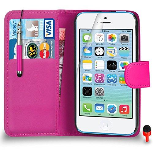 Apple iPhone 5C Pack 1, 2, 3, 5, 10 Protecteur d'écran & Chiffon SVL5 PAR SHUKAN®, (PACK 5) Portefeuille ROSE