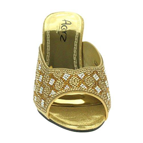 Frau Damen Glänzende Strasssteine Schlüpfen Juweliert Blockabsatz Abend Hochzeit Braut Party Prom Sandalen Schuhe Größe Gold