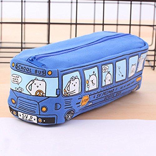 Bus Federmäppchen Pen Tasche Make-up-Taschen, Cute Creative Bus Bleistift Schreibwaren Beutel Fall Bleistift Fall für Schule/Büro Free Size blau