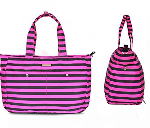 LCY Fresh Tote Cross Body Baby Wickeltasche, Purple and Black Strips