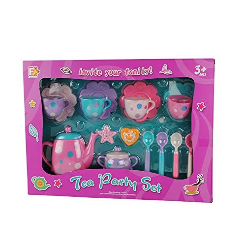 0Miaxudh Kindertee-Party-Set, 16 Stücke Simulation Kinder Tea Party Teekanne Tasse Pretend Play Küche Spielzeug Set Random Color