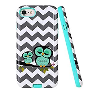 iPhone 7 Case, Style4U Cute Owl Design Slim Fit Shock Resistant Hybrid Armor Case for Apple iPhone 7 with 1 Style4U Stylus [Owl Mint Green]