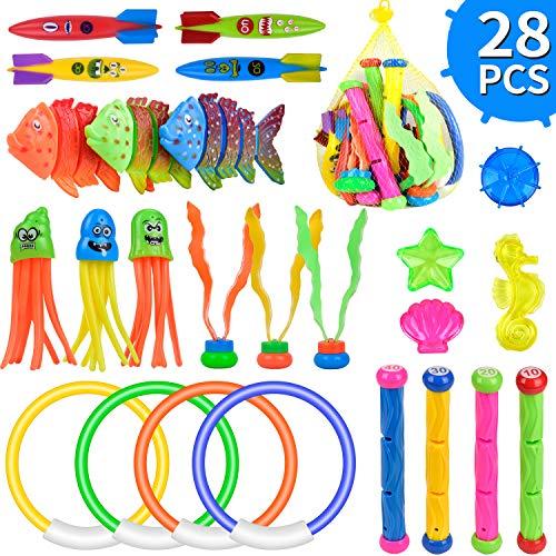 balnore 28 Stück Tauchspielzeug Unterwasser Pool Spielzeug Set Tauchring Kinder Tauchen Schwimmbad Spielzeug Tauchfisch Tauchbälle Bandits Torpedo mit Tragetasche