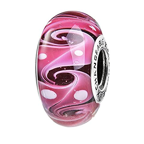 Charms Et Perles Pour Femme Charmes Individuels Beads Espaceurs Fille Argent 925/1000 Verre Plaqué Violet Fuchsia Nuage Roulant