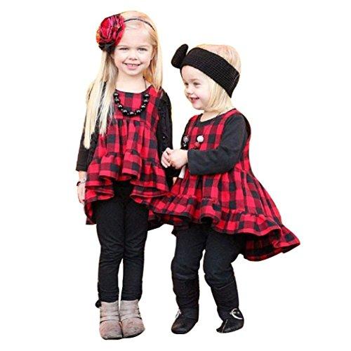 Fuibo Baby Kleidung, Neugeborenen Baby Mädchen Rüschen Plaid ärmellose Prinzessin Kleid Stirnband Set (Rot, - Trenchcoat Plaid