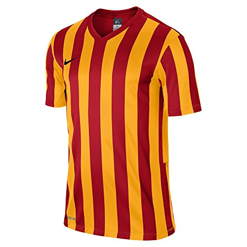 Nike, Maglietta a maniche corte Top Striped Division in jersey, Rosso (University Red/University Gold/Black), M Rosso (University Red/University Gold/Black)