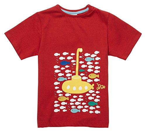 Piccalilly Bio-Baumwolle Jungen Rot Kurzarm Gelb U-Boot Druck T-Hemd