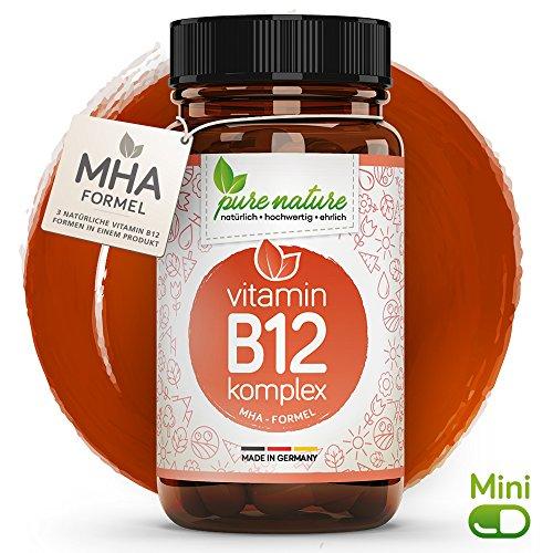 100% NATUR & REIN: Vitamin B12 KOMPLEX 4in1 MHA-Formel mit Folsäure & bioaktive Formen | 120 Tabletten | Vegan | Hochdosiert | Deutsche Premium Qualität | Laborgeprüft | 1000 mcg -